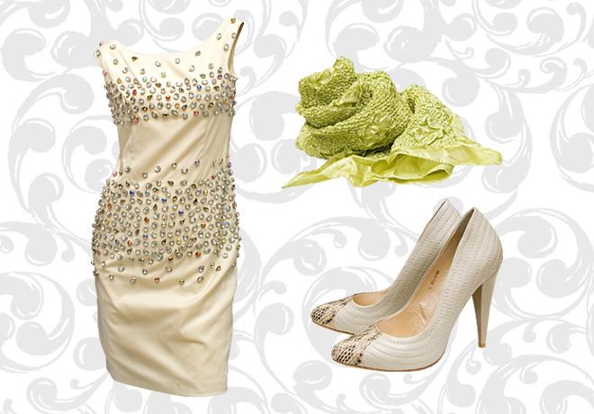 Бежевые туфли и бежевое платье