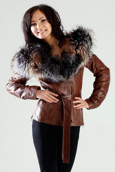 Куртка кожаная женская весна с мехом
