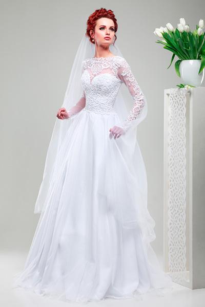 Свадебные платья из гипюра и атласа