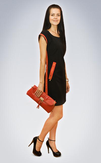 Фото платья черное с красной отделкой