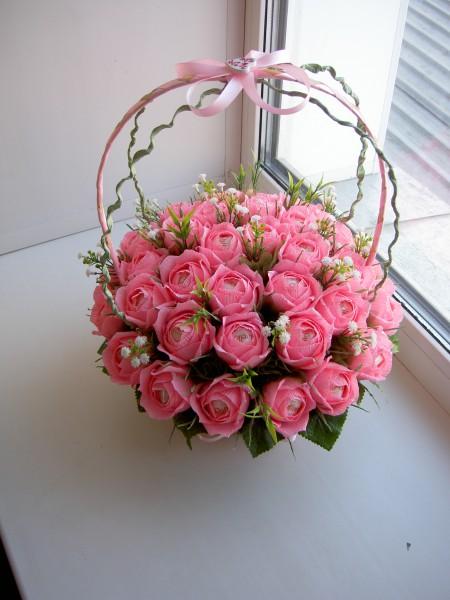 Корзина с розами из бумаги своими руками